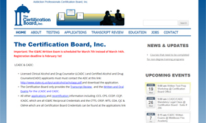 •Certification Board of New Jersey for addiction and mental health professionals